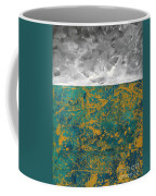 Abstract Original Painting Contemporary Metallic Gold And Teal With Gray Madart Coffee Mug