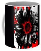 Abstract Red White And Black Daisy Coffee Mug