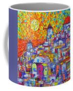 Abstract Santorini Oia Sunset Floral Sky Impressionist Palette Knife Painting  Ana Maria Edulescu Coffee Mug