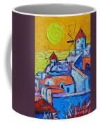 Abstract Santorini Sunset Oia Windmills  Coffee Mug
