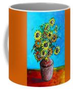 Abstract Sunflowers W/vase Coffee Mug
