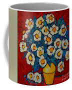 Abstract Wild White Roses Original Oil Painting Coffee Mug
