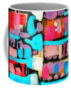 Abstract Wine Bottles Blue Red Coffee Mug