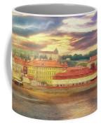 Across The River - Riverside Panorama Prague Coffee Mug by Leigh Kemp