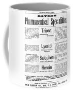 Ad For Bayers Drugs, Including Heroin Coffee Mug