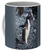 Adelie Penguin Squawking On Grey Shingle Beach Coffee Mug