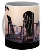 Adirondack Chairs Dockside At Lavender Haze Twilight Coffee Mug