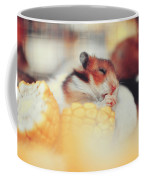 Adorable Tiny Hamster Pet Feasting On Corn Coffee Mug