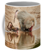 Adult Baboon And Baby Together On The Waterfront  Coffee Mug