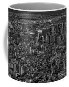 Aerial New York City Sunset Bw Bw Coffee Mug