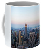 Aerial Night View Of Manhattan Skyline In New York Coffee Mug