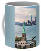 Aerial Of The Statue Of Liberty At Sunset, New York, Usa Coffee Mug