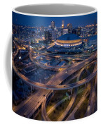 Aerial Of The Superdome In The Downtown Coffee Mug by Tyrone Turner