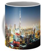 Aerial Panorama View Of Dubai By Night Coffee Mug
