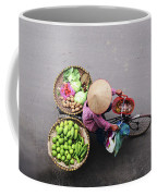 Aerial View Of A Vietnamese Traditional Seller On The Bicycle With Bags Full Of Vegetables Coffee Mug