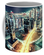 Aerial View Of Dubai's Business Bay At Night. Coffee Mug