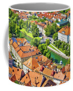 Aerial View Of Ljubljana Green River Coffee Mug