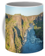 Aerial View Of Sunlit Rapids In Canyon Coffee Mug