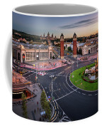 Aerial View On Placa Espanya And Montjuic Hill With National Art Coffee Mug