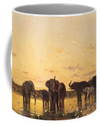 African Elephants Coffee Mug by Charles Emile de Tournemine