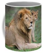African Lion Panthera Leo With Its Cub Coffee Mug