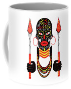 African Motive Background With Ornament Details And Spears  Coffee Mug