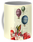 Hot Air Balloons Above Flower Field Coffee Mug