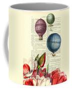 Hot Air Balloons Above Flower Field Coffee Mug