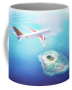 Airplane Flying Over Maldives Islands On Indian Ocean. Travel Coffee Mug