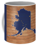 Alaska Map And Flag On Wood Coffee Mug