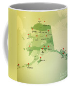 Alaska Map Square Cities Straight Pin Vintage Coffee Mug
