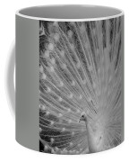 Albino Peacock In Black And White Coffee Mug