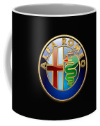 Alfa Romeo - 3 D Badge On Black Coffee Mug