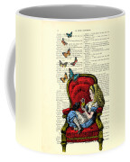 Alice In Wonderland Playing With Cute Cat And Butterflies Coffee Mug