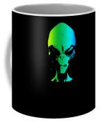 Alien Grey Head Blue Green Coffee Mug