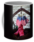 All American Flag And Red Boots - Painterly Coffee Mug