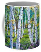 Alpine Flowers And Birches  Coffee Mug