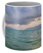 Amazing View Of Azure Sky Over Rippled Surface Of Cold Sea At Sunrise Coffee Mug
