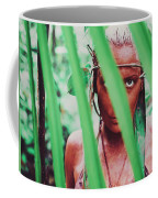 Amazonian Goddess Portrait Of A Wild Looking, Camouflaged Warrior Girl Holding Bow And Arrow Coffee Mug