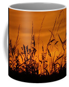 Amber Sundown Meadow Grass Silhouette  Coffee Mug