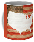 America Rustic Map On Wood Coffee Mug