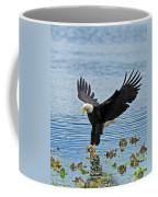 American Bald Eagle Sets Down On Fish Coffee Mug