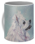 American Eskimo Dog In Snow Coffee Mug