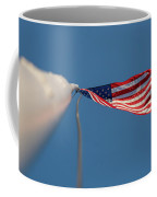 American Flag At The End Of Tall Post With Blue Skies Coffee Mug