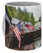 American Flag On Creek Street Ketchikan Alaska Coffee Mug