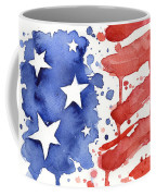 American Flag Watercolor Painting Coffee Mug