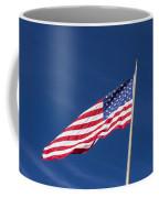 American Flag Waving In The Breeze Coffee Mug