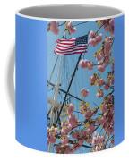 American Flag With Cherry Blossoms Coffee Mug