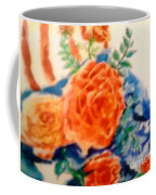 American Flag With Red Roses Coffee Mug