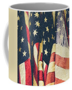 American Flags Painted Square Format Coffee Mug